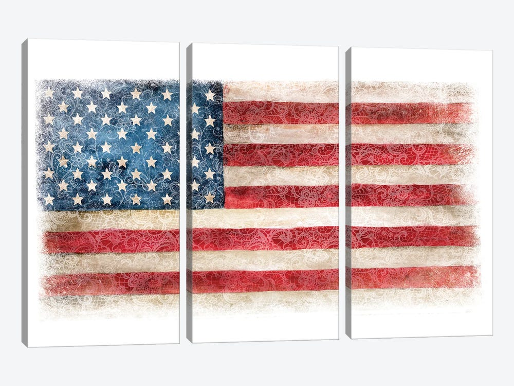 USA Flag Lace by Ephrazy Graphics 3-piece Canvas Print
