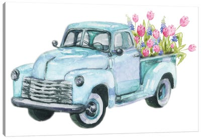 Spring Flower Teal Blue Truck Canvas Art Print