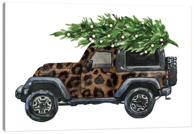 Christmas Jeep Leopard Print Canvas Art Print