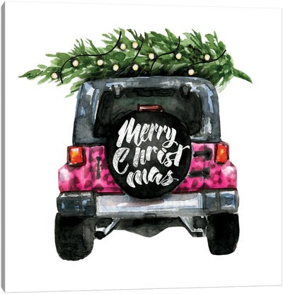 Christmas Jeep Back Pink Leopard Print Canvas Art Print