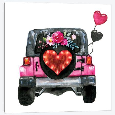 Valentine's Day Jeep Back Canvas Print #EPG98} by Ephrazy Graphics Canvas Art