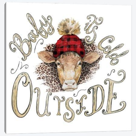 Cow Head Christmas Canvas Print #EPG9} by Ephrazy Graphics Canvas Wall Art