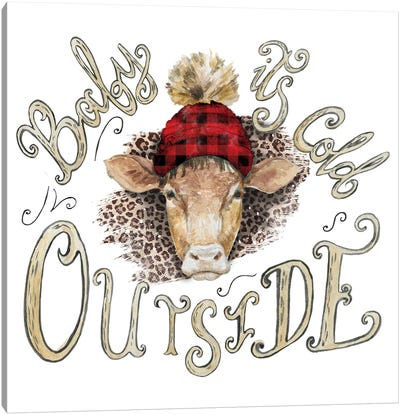 Cow Head Christmas Canvas Art Print
