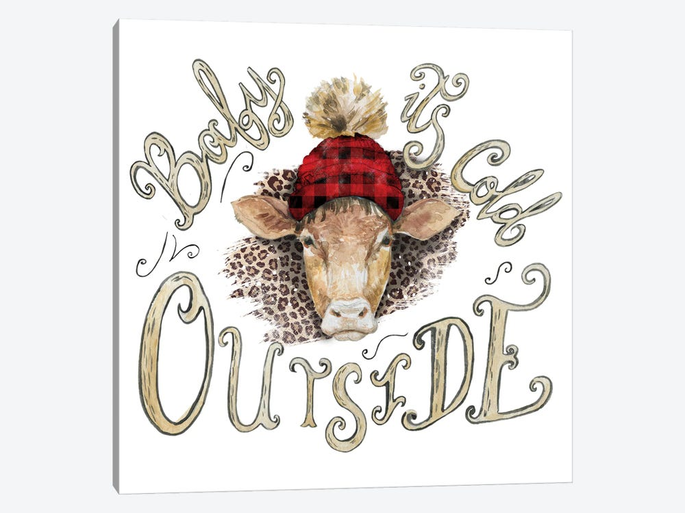 Cow Head Christmas by Ephrazy Graphics 1-piece Canvas Wall Art