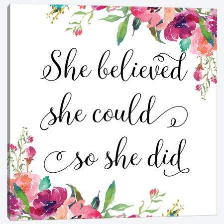 She Believed She Could So She Did II Canvas Print #EPT103} by Eden Printables Canvas Art Print