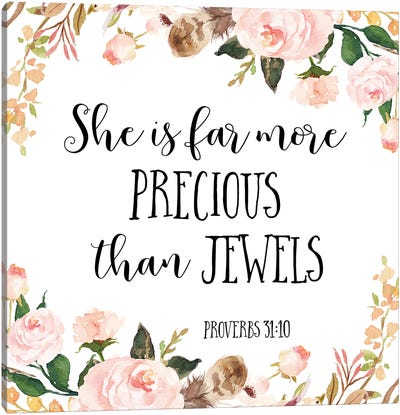 She Is Far More Precious Than Jewels, Proverbs 3:15 Canvas Art Print