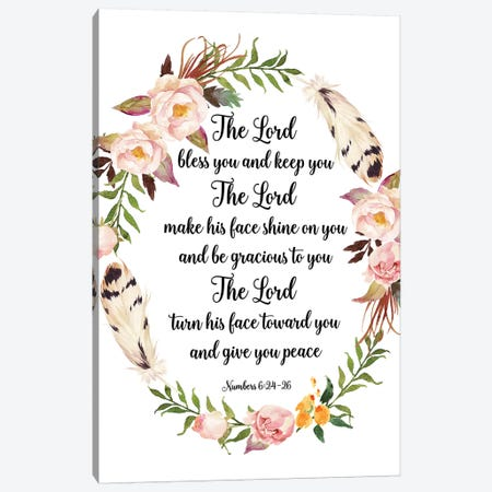 The Lord Bless You And Keep You, Numbers 6:24-26 Canvas Print #EPT117} by Eden Printables Art Print