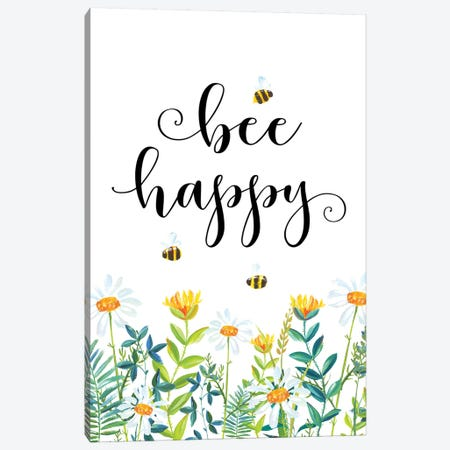 Bee Happy Canvas Print #EPT14} by Eden Printables Canvas Art