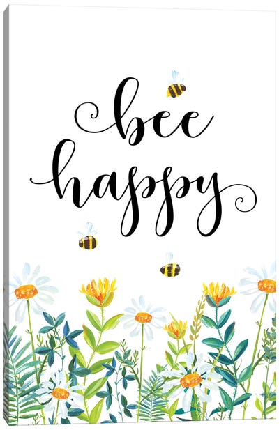 Bee Happy Canvas Art Print
