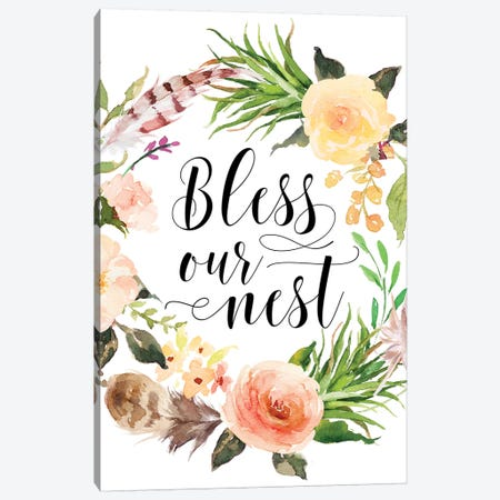 Bless Our Nest Canvas Print #EPT15} by Eden Printables Canvas Art