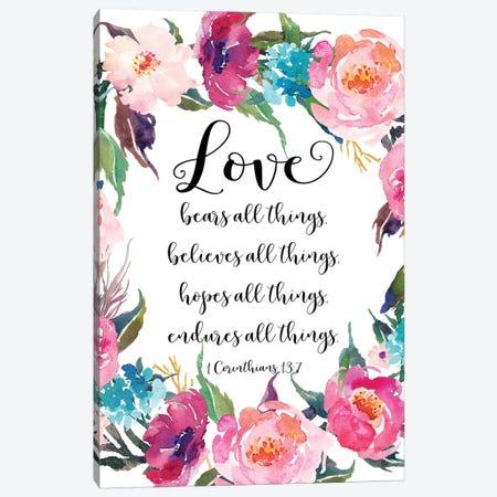1 Corinthians 13:7 Canvas Print #EPT1} by Eden Printables Canvas Art