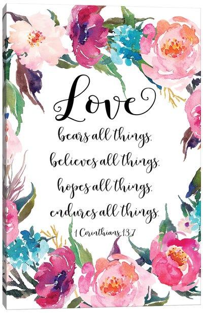 1 Corinthians 13:7 Canvas Art Print