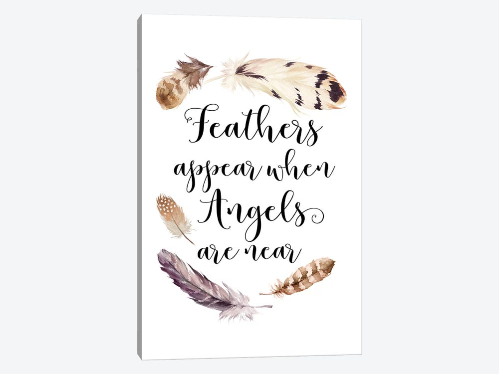 Feathers Appear When Angels Are Near by Eden Printables 1-piece Canvas Wall Art