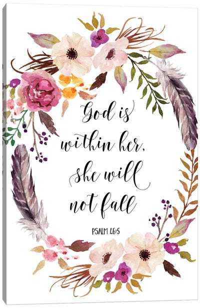 God Is Within Her, She Will Not Fall, Psalm 46:5 Canvas Art Print