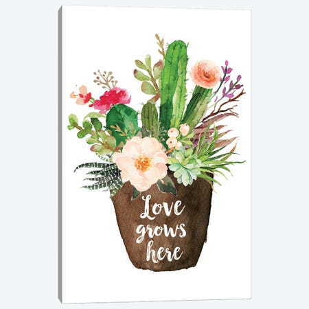 Love Grows Here Canvas Print #EPT82} by Eden Printables Canvas Wall Art