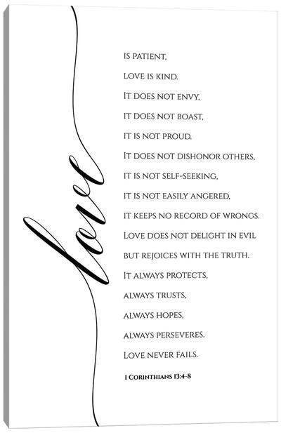 Love Is Patient, Love Is Kind, 1 Corinthians 13:4-8 Canvas Art Print