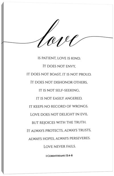 Love Is Patient, Love Is Kind, 1 Corinthians 13:4-8 Canvas Art Print