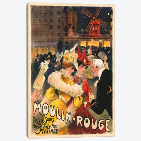 Le Moulin Rouge Advertisement, 1900 Canvas Print #EPV1} by E. Paul Villefroy Canvas Artwork