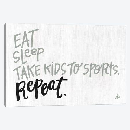 Eat Sleep Sports Repeat Canvas Print #ERB108} by Erin Barrett Canvas Artwork