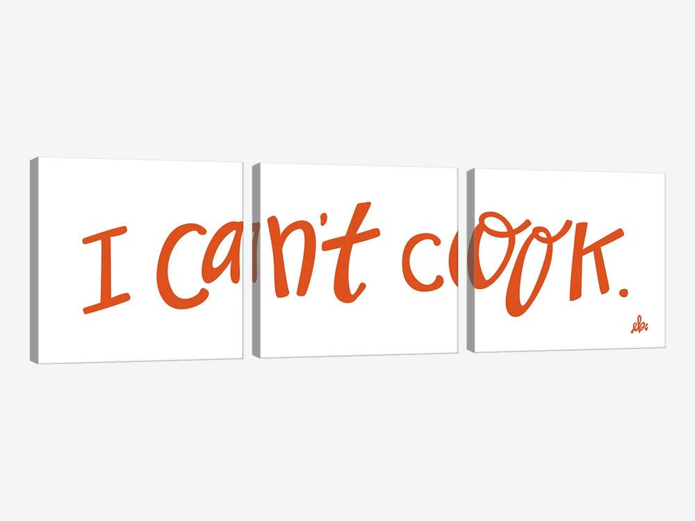 I Can't Cook   by Erin Barrett 3-piece Canvas Wall Art