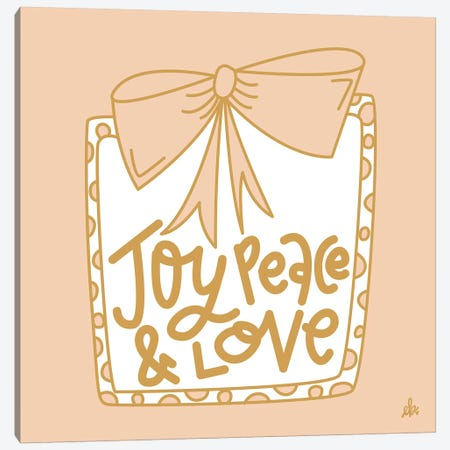 Joy Peace & Love    3-Piece Canvas #ERB119} by Erin Barrett Canvas Print