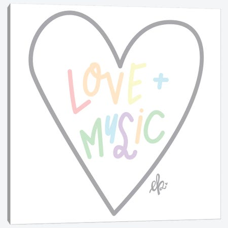 Love and Music Canvas Print #ERB130} by Erin Barrett Art Print
