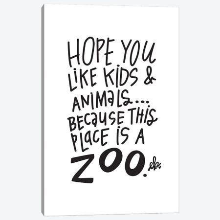 This Place is a Zoo Canvas Print #ERB30} by Erin Barrett Canvas Artwork