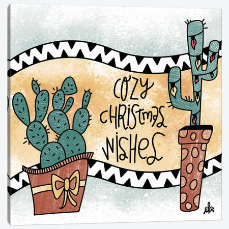 Cactus Cozy Christmas Wishes Canvas Print #ERB41} by Erin Barrett Canvas Art Print