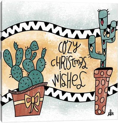 Cactus Cozy Christmas Wishes Canvas Art Print