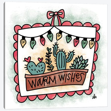 Cactus Warm Wishes Canvas Print #ERB42} by Erin Barrett Canvas Art Print