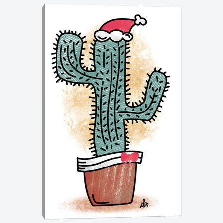 Feliz Navidad Cactus Canvas Print #ERB47} by Erin Barrett Canvas Wall Art
