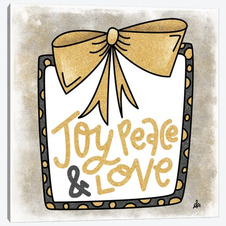 Joy, Peace and Love Present Canvas Print #ERB54} by Erin Barrett Canvas Print