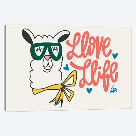 Llove Llife Llama Canvas Print #ERB55} by Erin Barrett Art Print