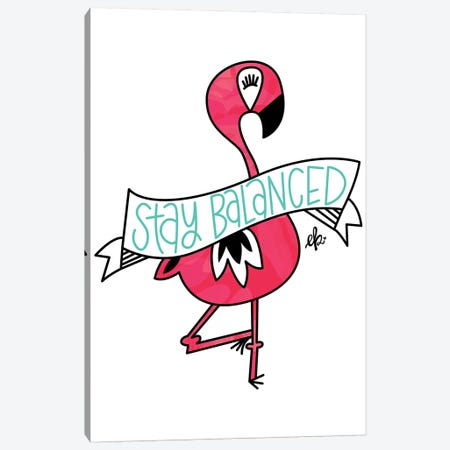 Flamingo Stay Balanced Canvas Print #ERB80} by Erin Barrett Art Print