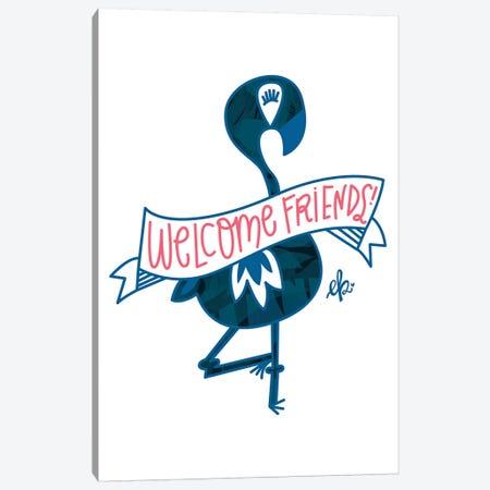 Flamingo Welcome Friends Canvas Print #ERB81} by Erin Barrett Art Print