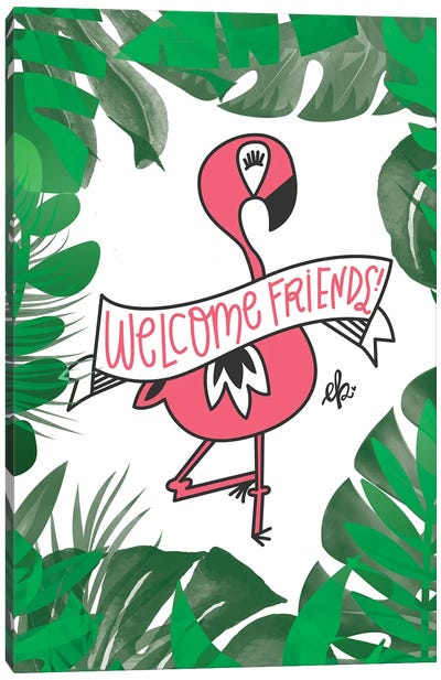 Flamingo Welcome Friends by Erin Barrett Canvas Art Print