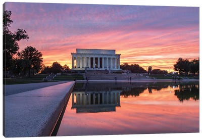 Washington DC Lincoln Sunset Canvas Art Print