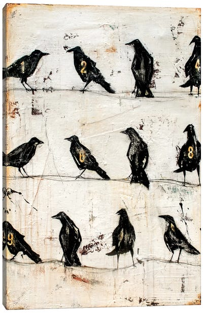 Crows On The Line Canvas Art Print