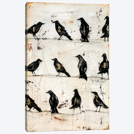 Crows On The Line Canvas Print #ERI63} by Erin Ashley Canvas Wall Art