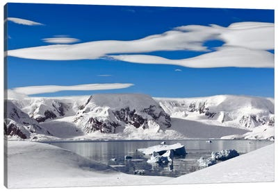 Snow-Covered Mountains Along Coast, Antarctica Canvas Art Print