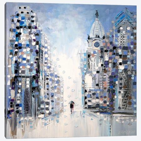 Rainy Walk in Philadelphia Canvas Print #ERM100} by Ekaterina Ermilkina Canvas Art