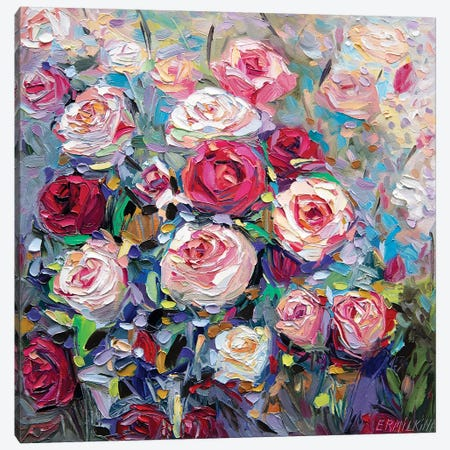 Roses Bloom Canvas Print #ERM101} by Ekaterina Ermilkina Canvas Wall Art