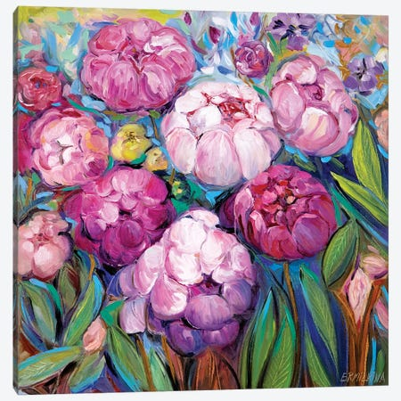 Pink Peonies Canvas Print #ERM102} by Ekaterina Ermilkina Canvas Artwork