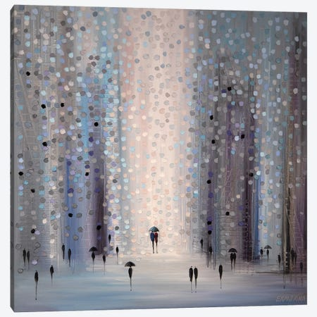 Lovers In The Rain Canvas Print #ERM110} by Ekaterina Ermilkina Canvas Art Print