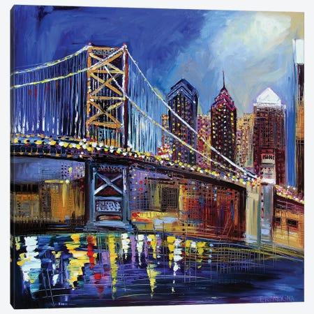 Benjamin Franklin Bridge Canvas Print #ERM16} by Ekaterina Ermilkina Canvas Artwork