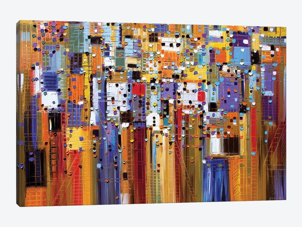 Colorful City by Ekaterina Ermilkina 1-piece Canvas Wall Art