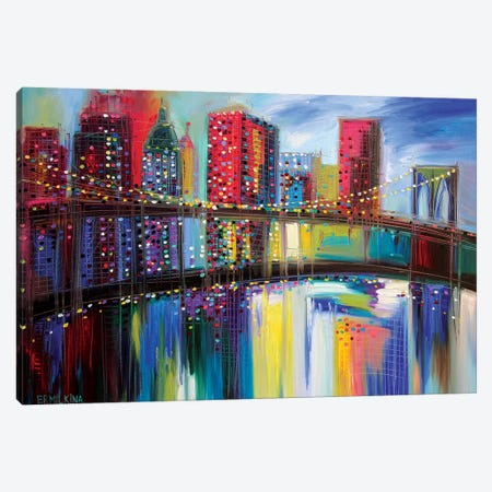 Brooklyn Bridge Canvas Print #ERM3} by Ekaterina Ermilkina Canvas Art