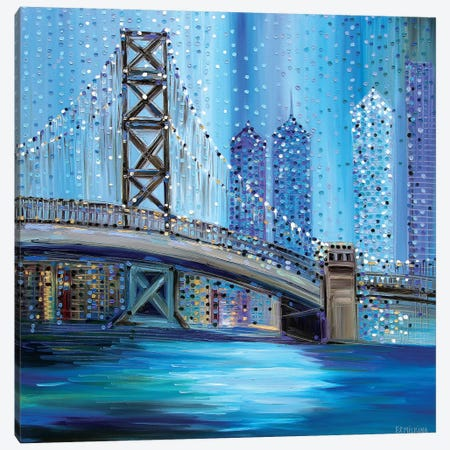 Philadelphia Bridge Canvas Print #ERM43} by Ekaterina Ermilkina Canvas Wall Art