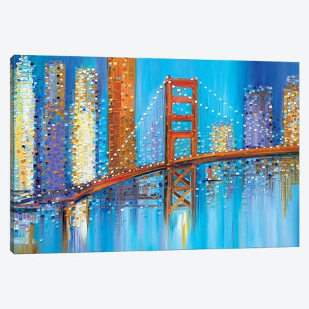 Golden Gate Bridge Canvas Print #ERM62} by Ekaterina Ermilkina Canvas Wall Art
