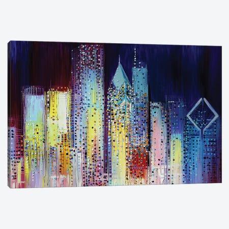 Night Skyline Canvas Print #ERM8} by Ekaterina Ermilkina Canvas Wall Art